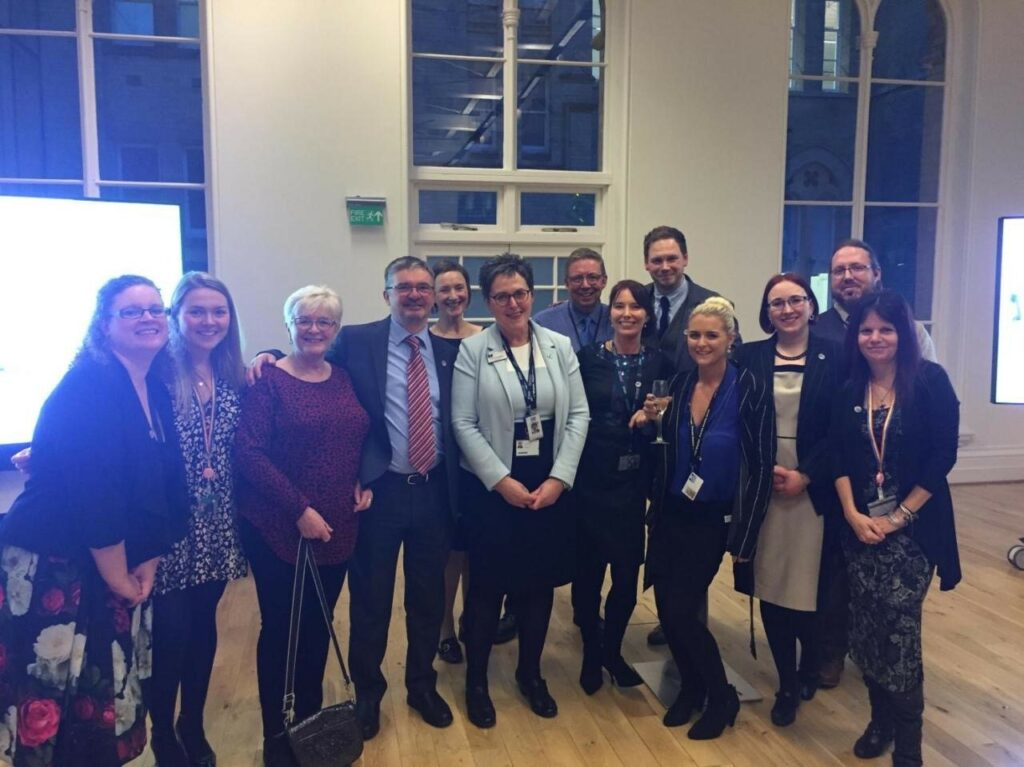 SLF staff and trustees celebrating the official launch of the Corbett Centre in February 2019.